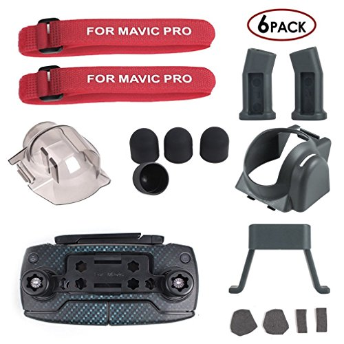 Preisvergleich Produktbild MAYISUMAI 6 in 1 Zubehör Kit für DJI Mavic Pro Quadcopter Drone, Fahrwerksbein Extender, Gimbal Schutzfolie, Motor Cap, Remote Joystick Halter, Propeller Guard Fixator, Gegenlichtblende