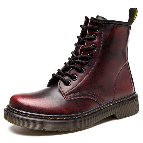 Derby Wasserdicht Kurz Stiefeletten Winter Herren Worker Boots Profilsohle Schnürschuhe Schlupfstiefel,Ungefüttert/Rot 42 EU (Stiefel Rot)