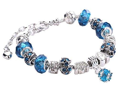 Mine tom Mujeres Niñas Moda Joyería Pulseras Diy Diamante Artificial De Cristal Y De Cristal Bolas Cadena Azul Claro