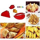 Kriya enterprises Plastic DIY 4 Pcs Dough Press Dumpling Samosa Modak Gujiya Pie Mould Maker Kitchen Tool (Red, 1529)