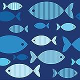 20 Servietten, 3-lagig, 1/4-Falz, 33 cm x 33 cm,'Blue Fish', Papstar 86371