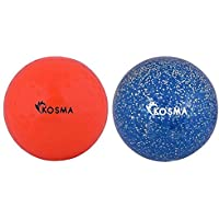 Kosma Set de 2 pelotas de Hockey | Deportes PVC Bola de formación práctica (hoyuelo Naranja, Azul Glitter, conjunto de 2) Perfecto para navidad, regalos de cumpleaños.