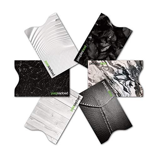 RFID & NFC geprüfte Kreditkarten-Schutzhülle (6 Stück) super dünn & robust für 100% Datenschutz - Motive (Black & White) - Aluminium-sicherheits-geldbörse