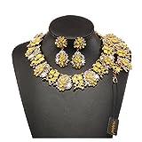 Holylove Damen Statement Halskette Gelb, Costume Schmuck für Damen Neuheit Mode Halskette Ohrringe Armband 1 Set mit Geschenkbox- HLB8041 Yellow