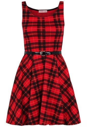 Belted Petite-shorts (Damen Kleid, Tartan-Muster, mit Gürtel, große Größen Gr. 48, rot)