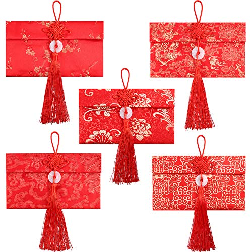 5 Styles Silk Red Envelopes Chinese Hongbao Festival Money Pockets Element Gift Card For