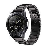 GOSETH für Samsung Galaxy Watch (42mm) Armband, Solid Edelstahl Metall Business Ersatzarmband mit Doppel-Taste Schmetterling Verschluss für Samsung Galaxy SM-810/SM-R815 Fitness Smart Watch (schwarz)