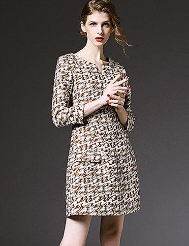 LYQ/ Robe Aux femmes Grandes Tailles Vintage / Décontracté , Jacquard Col en V Au dessus du genou Coton pink-2xl