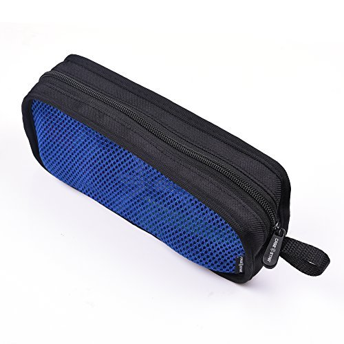 Fall Star Travel Organizer, der Reißverschluss Mesh Case für Kinivo BTC450 Bluetooth USB HDMI-Kabel Audio Stecker auf Stecker/Buchse Cat RJ45 Ethernet Patch Kabel Black Case with Blue Mesh - L