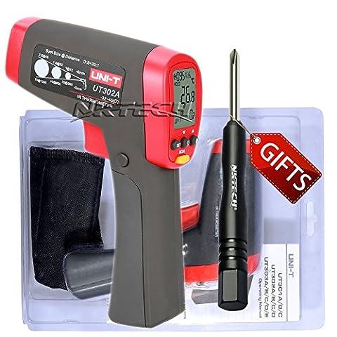 Nktech Uni-T Ut302a IR Thermomètre infrarouge Température -32°C à 450°C ou -32,2°C à 450°C sans contact D: S (20: 01) max/min/Diff/AVG Mode Gun Mesure testeur + Tournevis Tl-1