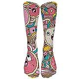 Unisex Donut Doodle Knee High Long Socks Athletic Sports Tube Stockings For Running,Football,Soccer