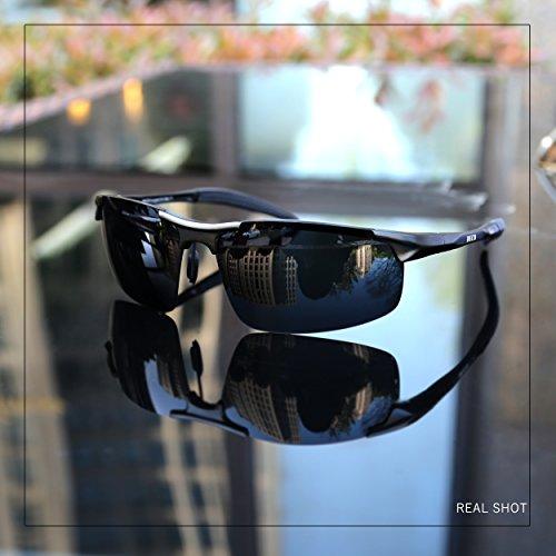 e96d5c23cd03ca Duco Lunettes de soleil homme Lunettes de sport polarisées - Lunettes de  conduite avec monture en métal Incassable - 100% anti UV400-8177S (Noir) ...