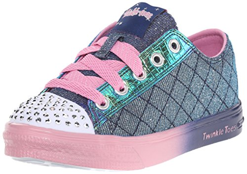 Skechers Girl's Twinkle Toes - Twinkle B Navy and Pink Sneakers