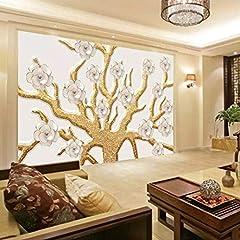 Idea Regalo - Decorazioni murali Quadri in rilievo 3D Albero Fiori Soggiorno Sfondo Decorazione Carta da parati Tessuto di seta-(W)200x(H)140cm