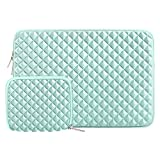 MOSISO Funda Protectora Compatible con 13-13.3 Pulgadas MacBook Air/MacBook Pro Retina/2019 Surface Laptop 3/2/Surface Book 2, Estilo Diamante Agua Repelente Bolsa Blanda con Pequeño Caso, Menta Verde