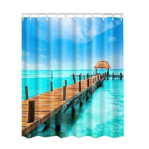 Long Rideau de douche Ocean Décor par Fairylove Seaside View Tropical Nature Paysage, tissu de salle de bain Rideau de douche avec ensemble de crochets, 180,3cm de long, Bleu vert turquoise Blanc ivoire