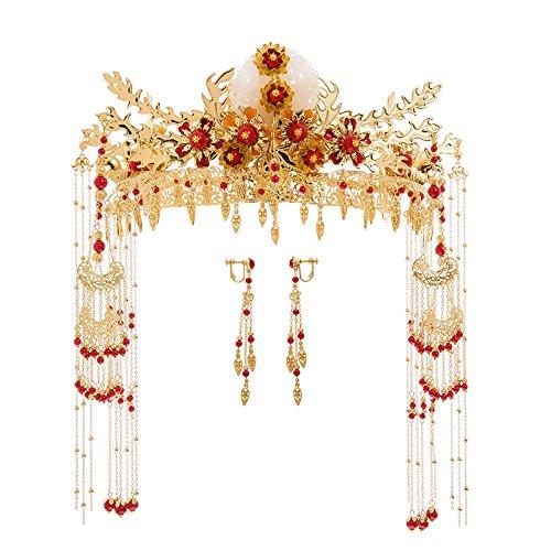 XPY&DGX Bridal Hochzeit Ballsaal Haarnadel Haarschmuck,Bridal rote Quaste kostüm Kopfschmuck Chinesischen Cheongsam Haarschmuck Longfeng Kleid Zubehör - Chinesisch Cheongsam Kostüm