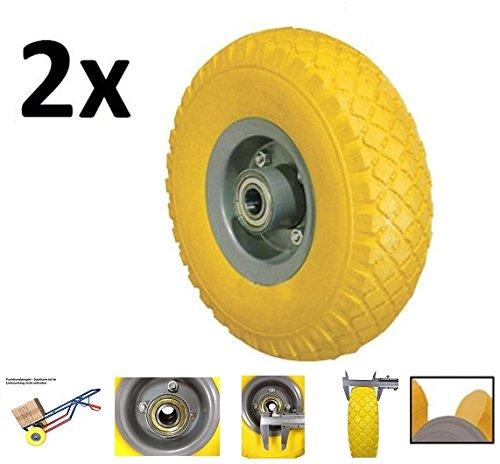 Preisvergleich Produktbild PU Rad 260 mm - Pannensicher, nie wieder Luftpumpen (Gelb, 2 Stück)
