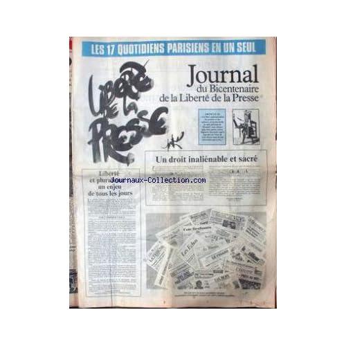 JOURNAL DE LA LIBERTE DE LA PRESSE [No 165] du 04/09/1948 - 17 QUOTIDIENS EN UN SEUL - LIBERTE ET PLURALISME PAR CATHERINE TASCA - JACQUES CHIRAC.
