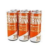 Runtime Performance Drink Orange - volle Power, Energie und Fokus für Arbeit, Sport, Studium und Gaming, mit Koffein und Grüner Tee Extrakt, Energy Drink, 6 x 150 ml Dosen, 6er Palette