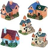 5pcs Chalet Edificio Europeo Miniature Resina Casa de Muñecas