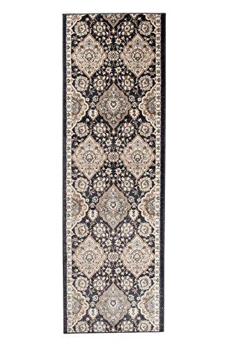 Tapiso Dubai Läufer Teppich Brücke Schwarz Beige mit Klassisch Traditionell Ornament Muster Teppichläufer Flur Wohnzimmer ÖKOTEX 80 x 700 cm -
