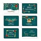 24 Pezzi Cartoline di Natale con Buste e Adesivi, Regali Natale Decorazioni, 6 Disegni Diversi (verde)