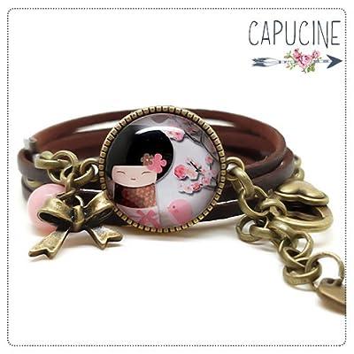 Bracelet marron avec cabochon verre kokeshi - Bracelet breloques bronze - Bracelet multi-rangs - Bracelet La Kokeshi & l'Oiseau