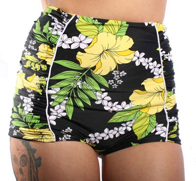 Hawaii Flower rockabilly retro pin up Hibiskus Blüten Ruffle Panty Bikini -