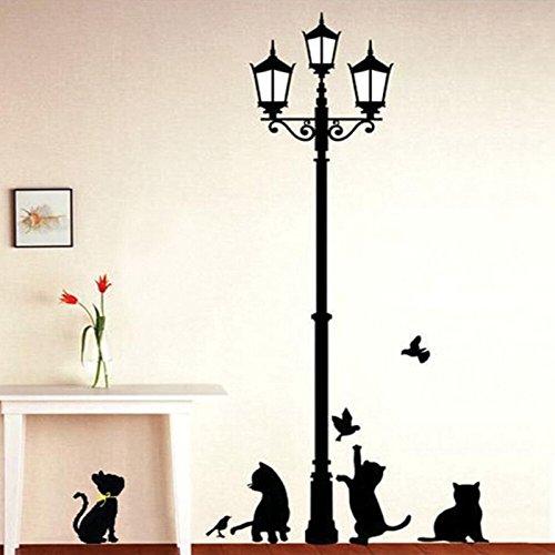 Preisvergleich Produktbild Wasserdichte abnehmbare selbstklebende Karikatur Nette Katze Wandaufkleber Home Dekorationen für Windows Wohnzimmer Kinder Schlafzimmer Tier Haus Decals, 97 * 143cm