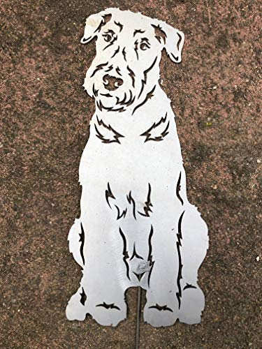 Terma Stahldesign Airedale Terrier Höhe 30 cm (50 cm mit Spieß), Edelrost Hund, Rostfigur, Gartenfigur, Rost Figur -