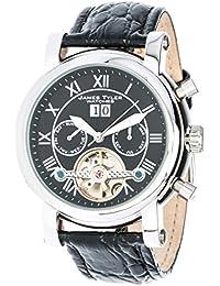 James Tyler JT700-1 - Reloj para hombres, correa de cuero color negro, cuadrante negro