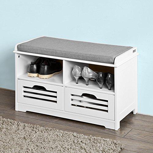 Körben Sitzbank (SoBuy® Schuhtruhe, Sitzbank mit 2 Körben und Ablagen, Sitzkommode mit Sitzkissen, weiß, FSR36-K-W)
