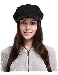 GEMVIE Casquette Base-Ball Femme En Suédé Style Anglais Chapeau Béret Hiver Noir