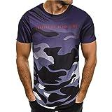 Covermason Camouflage Chemise à Manches Courtes T-Shirt de Sport Homme Sweat-Shirts Personnalité Mode Hommes Occasionnels Slim Blouse Grande Taille Classique Blouse Loisir (M, Violet)