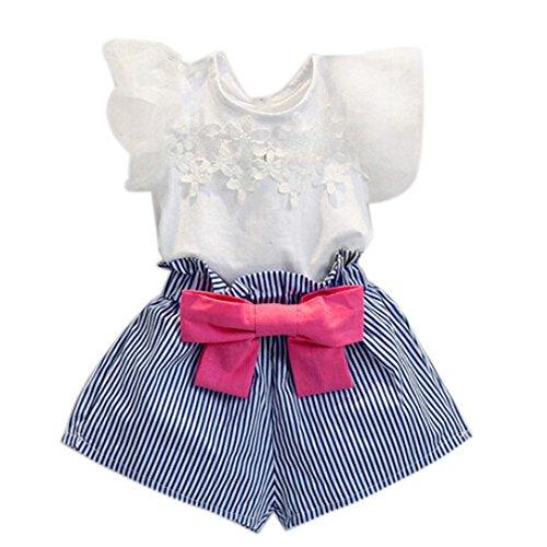 Kleider Kinderbekleidung Honestyi Kinder Baby Mädchen Kurzarm Shirt + Blumen Rock Set Sommerkleid Outfits (Weiß,140)