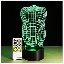 Zahn-Form-Illusion Führte Tischlampe-Nachtlicht Mit Fernbedienung Als Geschenk Für Farben Des Zahnarzt-7 Änderung Dekor-Beleuchtung