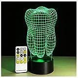 Forma De Diente Ilusión 3D Lámpara De Mesa Led Luz Nocturna Con Control Remoto Como Regalo Para Dentista 7 Colores Cambiar Decoración Iluminación