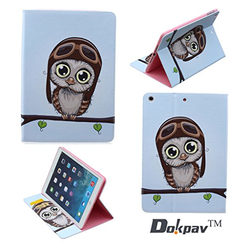 Dokpav® iPad Air Custodia in Pelle ,Ultra Slim Sottile PU Materiale Case Cover per Apple iPad Air - Gufo bambino