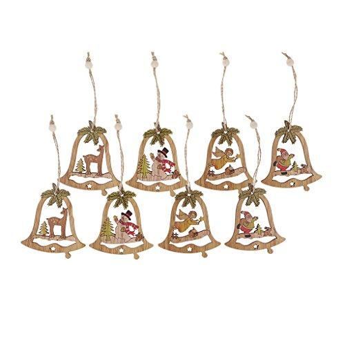 Homyl 8 pcs Hölzerne Weihnachtsbaum Hängende Weihnachten Hirsch Elch Glocke Weihnachtsbaum Hängende Ornamente -