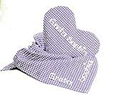 Herz Wärmekissen und Tuch Vichykaro (lila) im Set, Kinderset Körnerkissen mit Namen und Vichytuch, Taufgeschenke für Mädchen