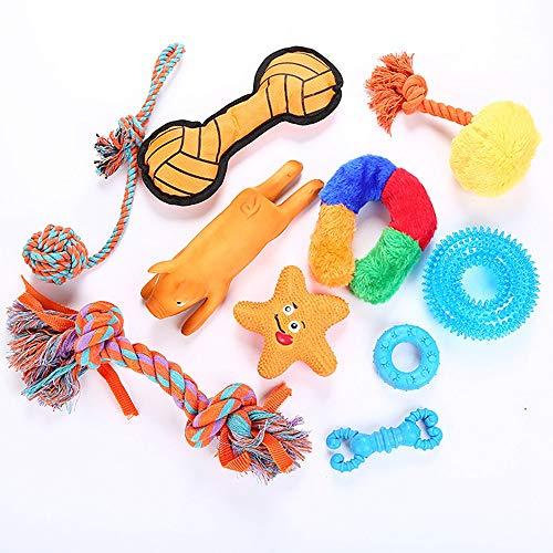 Winfridy Haustier Spielzeug Kombination Set TPR Latex Hundespielzeug Molaren Zähne Reinigung Biss Hundetraining Requisiten 10 Stück. (Farbe