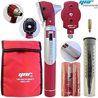YNR England ® F.O Mini Otoscope Auriscope Fiber Optic ENT Medical Diagnostic Examination NHS GP CE Mark Approved New (Red)