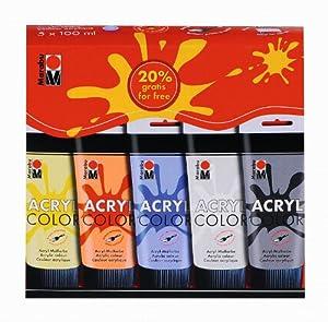 Marabu 120100087 100ml Tubo Negro, Azul, Rojo, Color Blanco, Amarillo - Pintura acrílica (Negro, Azul, Rojo, Blanco, Amarillo,, Matte, 100 ml, Tubo, Caja de cartón)