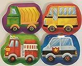8 Teller * FAHRZEUGE * für Kindergeburtstag oder Mottoparty // mit Feuerwehr, Kipper, Polizei und Bus // Plates Pappteller Partyteller
