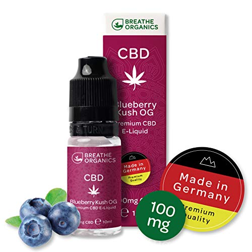 Premium CBD Liquid Blueberry Kush von Breathe Organics® | E Liquid ohne Nikotin mit 100 mg CBD | 100% natürliche Terpene | Cannabidiol Liquid | VGmax Basis (Blueberry Shisha)