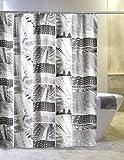 Duschvorhang Hochhaus / Gerüst 180cm breit x 180cm lang, Vinyl PVC, weiß schwarz grau mit Ringen