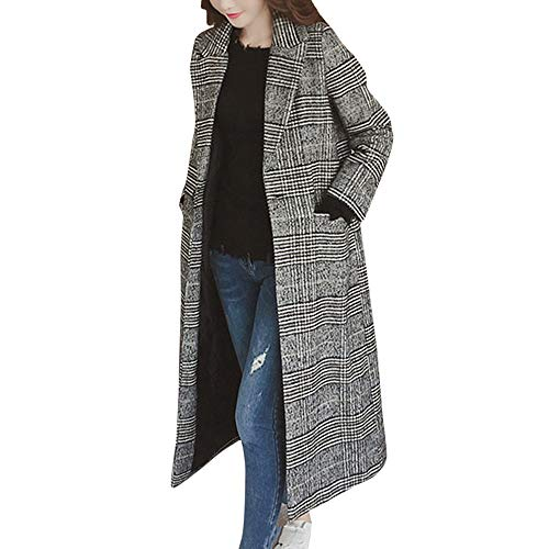 Damen Winter Warm Mantel, Malloom Damen Kariertes Mantel Lange Trenchcoat Schlank Winterjacke Steppmantel Casual Langarm Fleecejacken