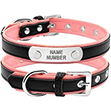 Collar de perro Berry de piel, bonito y acolchado, con grabado personalizado