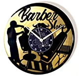 Instant Karma Clocks Orologio in Vinile Doppio da Parete LP 33 Giri Idea Regalo Vintage Barba Parrucchiere Salone Bellezza Barbiere Barber Shop (Oro), Handmade